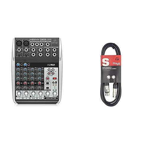 Mezclador USB de 8 Canales + Stagg XLRF-XLRM SMC3 para micrófono estándar, Negro, 3 m