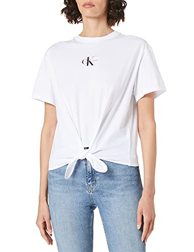 Calvin Klein Jeans Knotted tee Camiseta, Bright White, M para Mujer