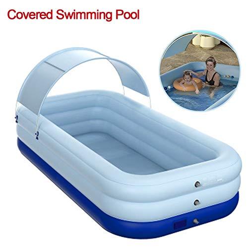 Aufblasbarer Pool, überdachter kabelloser Familien-Planschbecken mit Sonnenschirm, geeignet für Kinder, Kleinkinder, Erwachsene, Garten, Außenbereich, Garten (Color : Blue, Size : 210X150X 68cm)