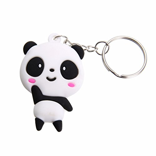 Qinlee Panda Form Schlüsselanhänger Metall Schlüsselring Kreativ Schlüsselbund Niedlich Rucksack Auto Anhänger Ornament Mode Zubehör für Unisex