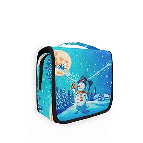 Bolsa de aseo para colgar copos de nieve, Navidad, árbol de invierno, luna, viaje, bolsa de lavado grande, organizador para mujeres, niñas, niños bolsa de ducha