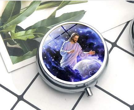 Collar de la Virgen María de la Madre del Bebé Jesús cristiano colgante de cristal religioso católico Jesús la caja de pastillas/pastillero