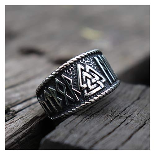 TZZD Anillo vintage vikingo de runas ODIN para hombre, anillo de acero inoxidable 316L, amuleto nórdico joyería (color: 10)