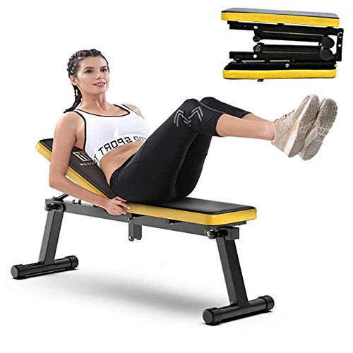 Adjustable Exercise Weight Bench, Sturdy Steel Frame - Load Bearing 200KG, 3 Adjustable Height- Portable Folding, Save Space for Body Workout Fitness