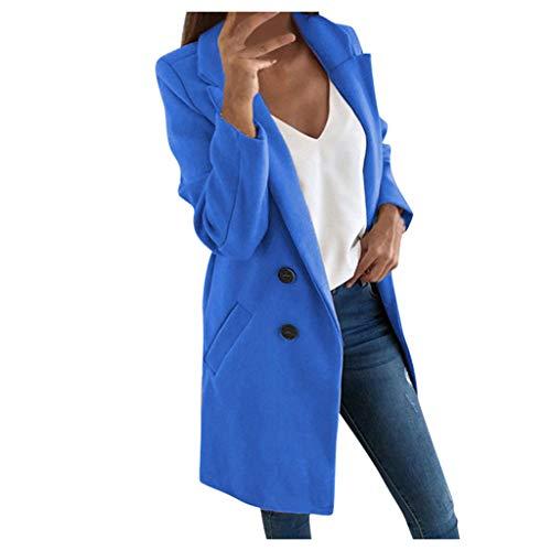 iHENGH Damen künstliche Wolle Elegante Mischungs Mantel dünne weibliche Lange Mantel Oberbekleidung Jacke(Himmelblau, 3XL)