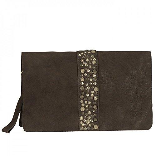 BAG GREENOCK Umhängetasche mit Nieten aus Leder in Braun