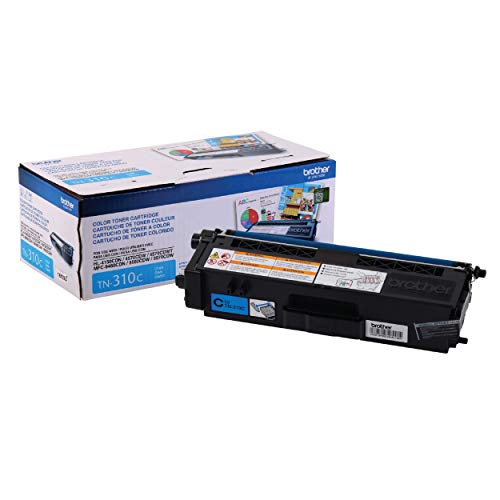 Brother Genuine Standard Yield Toner Cartridge, TN310C, Replacement Cyan Toner, Page Yield Up To 1,500 Pages, TN310