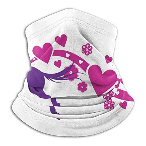 Jumping Horse and Love Heart Neck Gaiter Warmer Windproof Face Shield Scarf Magic Balaclava Outdoor Sports