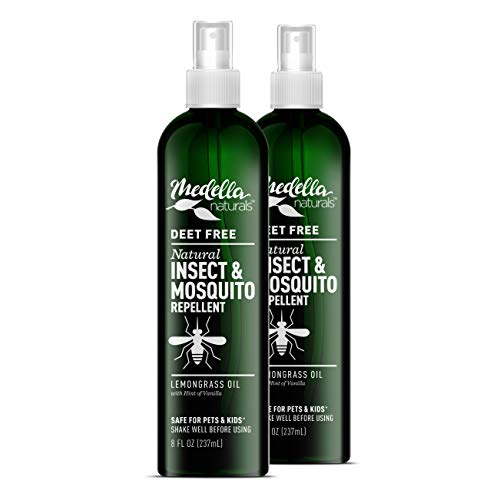 Medella Naturals Insect & Mosquito Repellent, DEET-Free All-Natural Formula, Kid and Pet Friendly, Made in The USA, 8 Ounce Spray Bottle, 2-Pack