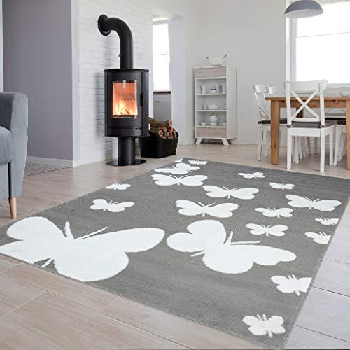 Tapiso Luxury Teppich Kurzflor Grau Weiss Modern Schmetterling Muster Designer Wohnzimmer Jugendzimmer Kinderzimmer ÖKOTEX 120 x 170 cm