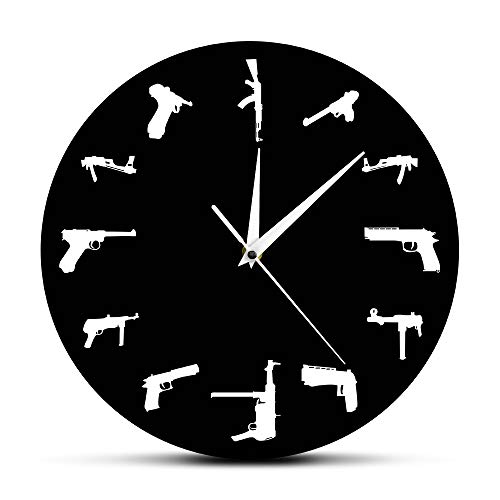 The Geeky Days Guns Family Army Weapons Modern Mood Watch Wall Clock Personalized Hand Gun Weapons Silhouette Clock Best Souvenir Present for Gun Lover