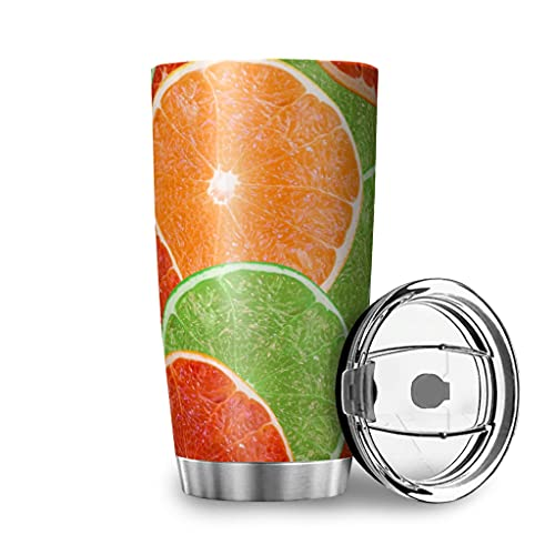 Harneeya Tumbler Colorful Lemon Stainless Steel Coffee Tumbler Fruits Cup for Home/Office/School 20oz White 20oz