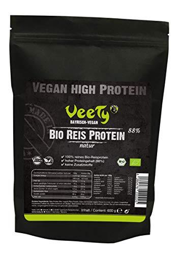 Veety Bio Reis Protein - Natur   88% Protein   Vegan ohne Zusatzstoffe   extra feines, rein pflanzliches Proteinpulver aus kontrolliert biologischem Anbau   600 g
