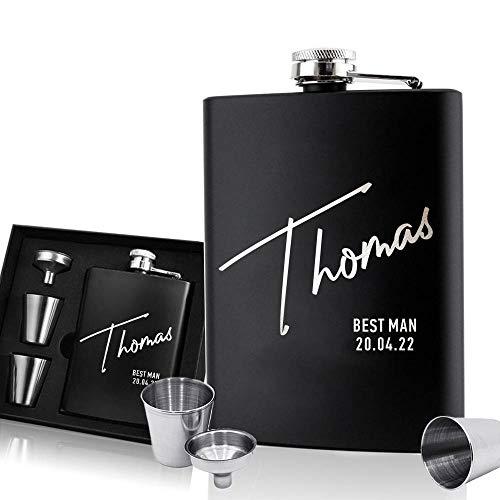EDSG Personalisierbarer Flachmann   gravierter Whisky-Flachmann aus Edelstahl, 170 ml Taschen-Flachmann  ...