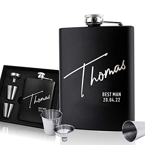 EDSG Personalised Hip Flask | Engraved Stainless Steel Whisky Flask 6oz...