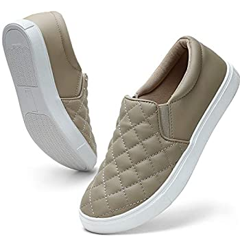 STQ Casual Shoes for Women Memory Foam Slip On Sneakers Comfortable Loafers Taupe 8