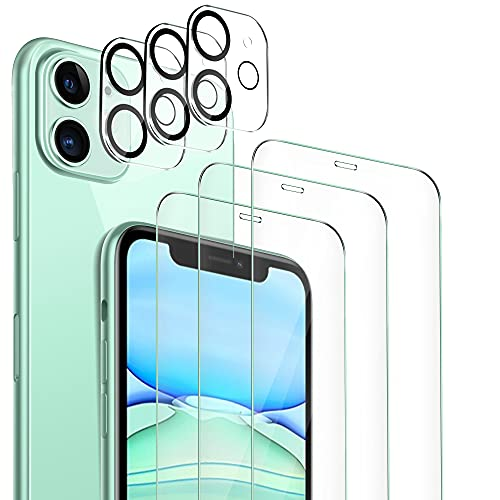 MSOVAEU Protector de Pantalla Compatible con iPhone 11, 3 Piezas Cristal Templado y 3 Piezas Protector de Lente de cámara, No Burbujas Instalación Fácil Dureza de 9H.