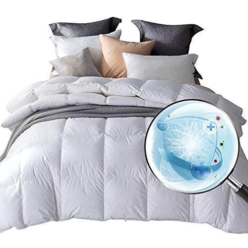 Amazon Brand - Umi Edredón nórdico de Pluma y plumón de Ganso Blanco 260x220-cama 150 con Funda 100% de algodón, Antipolvo, Antibacteriano, Antiolor(Blanco, 4 Estaciones)
