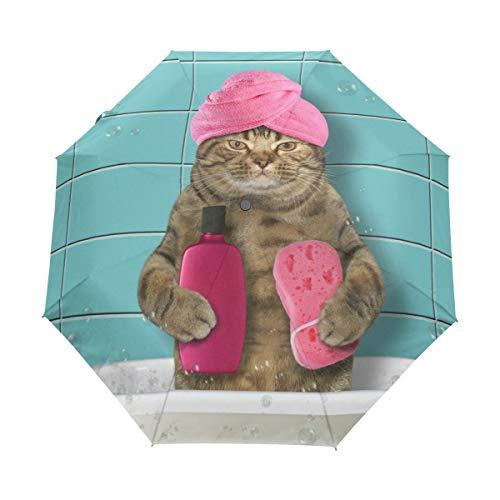 Lustige Dusche Katze Regenschirm Auf-Zu Automatik Taschenschirm Winddichter Umbrella Klein Leicht Schirm Kompakt Schirme für Jungen Mädchen Reise Strand Frauen