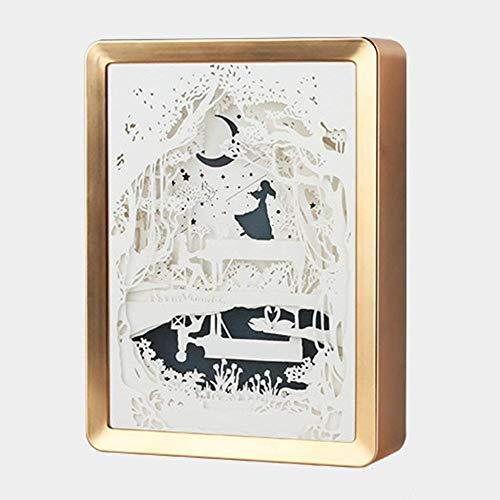 GEZHF Colorido Transformar Papel Corte Cajas De Luz Esculturas 3D Luz De La Noche Decoración Creativa Regalo De Cumpleaños Para Niños Y Adultos