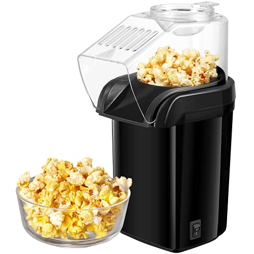 Popcornmaschine, 1200W Heißluft Popcorn Maker Machine für Zuhause mit Messlöffel, ohne Fett & Öl, BPA Freie, Schnell und Einfach, für Party, Filmabend