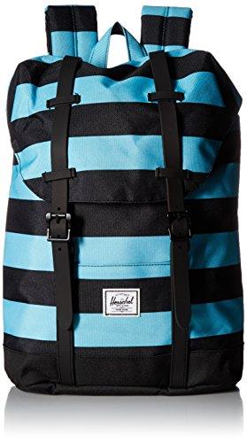 Herschel Kids' Retreat Backpack, Black/Bachelor Button Stripes/Black, Youth