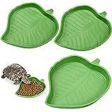 3 Cuencos de Comida y Agua de Hoja para Reptiles Plato de Alimentación de Hojas de Plástico para Maíz de Tortuga...