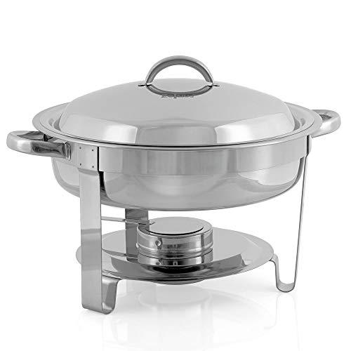 ZELSIUS Edelstahl Chafing Dish rund 4,5 Liter | Speisenwärmer Wärmebehälter Bain Marie Rechaud Warmhaltebehälter Chafing Dishes für Buffet Catering Gastro und Party