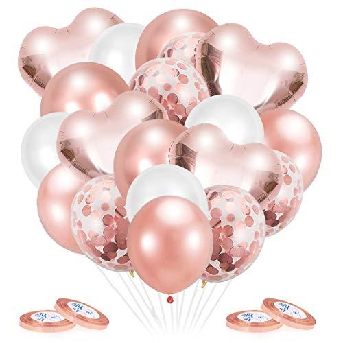 O-Kinee Palloncini Oro Rosa, 50 Pezzi Set Palloncini con Coriandoli, Palloncino Foil CuoreOro Rosa, Palloncini Oro Rosa e Bianchi per Matrimonio, Baby Shower, Decorazione Festa di Compleanno