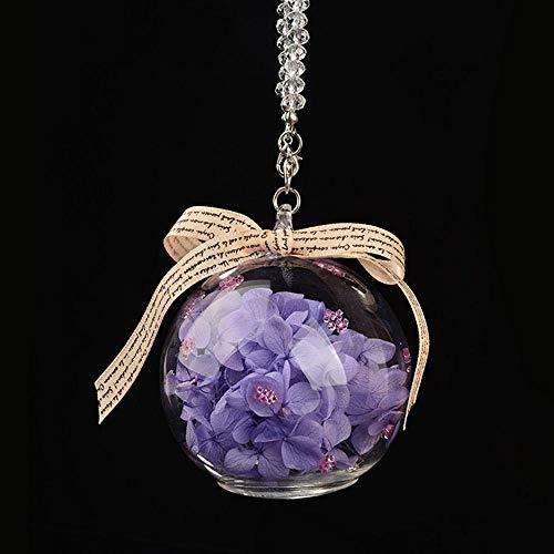 XVBTR Colgante Ornamento del Coche Colgante Cristal Inmortalizado Flor Cristal Auto Espejo retrovisor Adorno Decoración Accesorio Colgantes Hechos a Mano Regalos Púrpura
