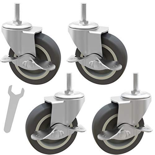 MySit Caster Wheels, Stem Casters Set of 4, 3 Inch 3/8