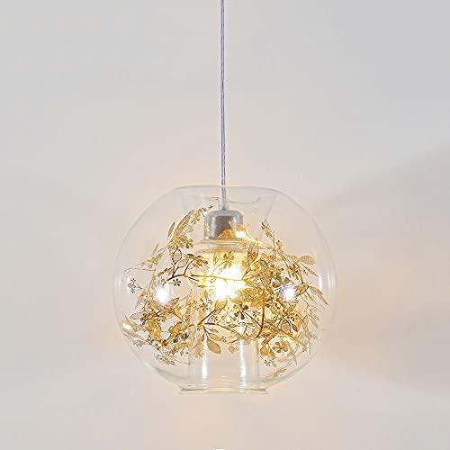 JIANAND Lámpara Colgante de Cristal con Forma de Flor de Metal Dorado Creativo Lámpara Colgante E27 Lámpara de Techo Semi empotrada Lámpara Colgante Tienda de Ropa Iluminación Decorativa