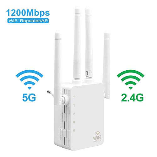 Amplificador De Señal WiFi, Extensor WiFi De Alta Velocidad De Doble Banda De 1200 Mbps, con 4 Antenas Externas De Larga Distancia Y 2 Puertos LAN, Que Se Utiliza con Cualquier Enrutador De Módem