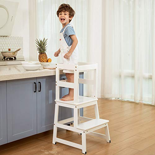 Kitchen Helper Stool Learning Tower Stool for Toddlers and Kids with Safety Rails for Kitchen Counter Solid Wood (White)