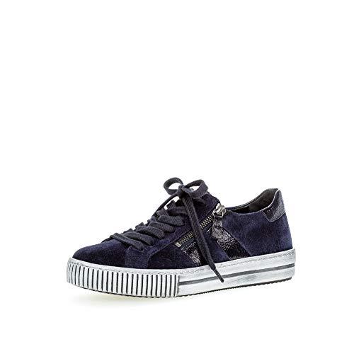 Gabor Damen Sneaker, Frauen Low-Top Sneaker,Best Fitting,Reißverschluss,Optifit- Wechselfußbett, Sportschuhe Freizeitschuhe,Marine,38.5 EU / 5.5 UK
