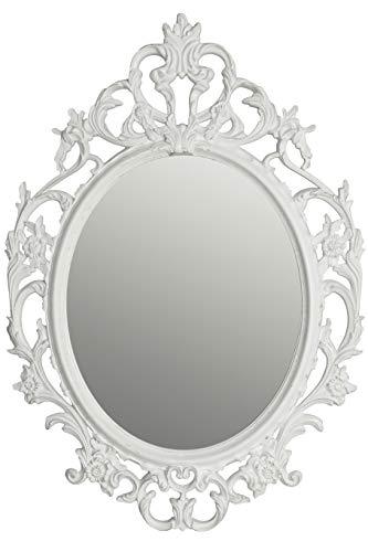 elbmöbel - Espejo de pared (ovalado, 84 x 58 x 4 cm), color blanco
