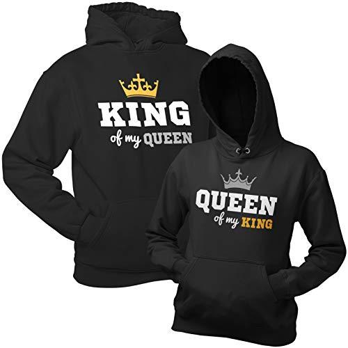 King Queen Kapuzenpullover (Hoodie) – Schwarze Pullover King of My Queen mit Kapuze im Partnerlook Geschenk zum Valentinstag, Geburtstag, Jahrestag
