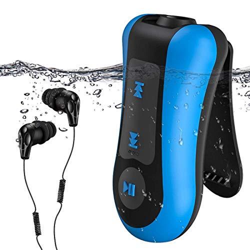 AGPTEK Reproductor MP3 Acuatico 8GB, MP3 Waterproof IPx8 con Auriculares Impermeable para Nadar, Correr, Azul