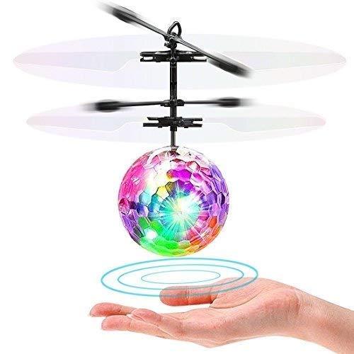 LISOPO RC Fliegender Ball Flying Ball Mini Flugzeug Hubschruber mit LED Leuchtung Infrarot Flying Induktionshubschrauber Ball als Geschenk Handsensor Spielzeug Indoor und Outdoor, Transparent