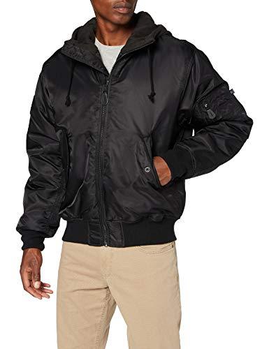 Brandit MA1 Sweathood Bomberjacke, schwarz mit schwarzer Kapuze, Größe 4XL