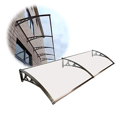 JIANFEI Door Canopy Windows Awning, Polycarbonate Thickened Rain Cover Outdoor Balcony, Transparent Sun Protection Patio Roof Shed, Aluminum Bracket 2pcs Customizable (Color : Clear, Size : 60X240CM)