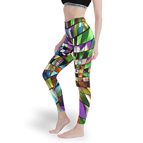 Color abstracto de colores de vidrio colorido para mujer, leggings de alta yoga para ciclismo, pantalones de control de barriga, mallas para mujer