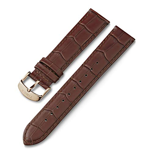 Timex 20mm Genuine Leather Quick-Release Strap – Brown Croco with Rose Gold-Tone Buckle