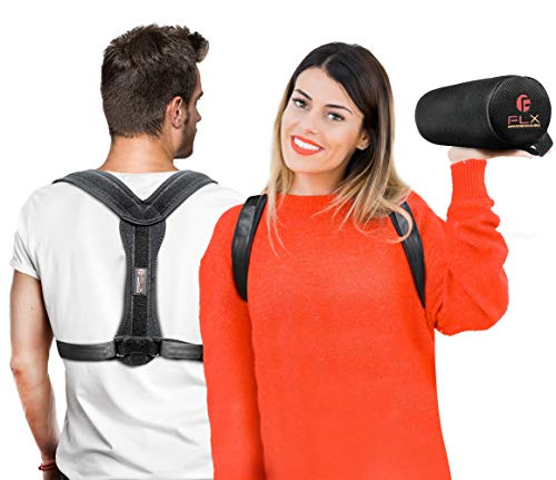 Haltungskorrektur-Set - Rückenbandage und Lendenwirbelstützkissen für Männer und Frauen, Schmerzlinderung bei Schlüsselbein, unteren und oberen Rücken, Schultern, Nacken und Wirbelsäule