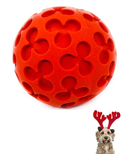 Soft Ball Dog Toy for Medium Dogs and Large Dogs Natural Rubber/Latex Chemical Free Complies with Same Safety Standards as Kids' Toys Soft Squeaky Indoor Play Medium Dog Toys 3.14 Inches Diameter