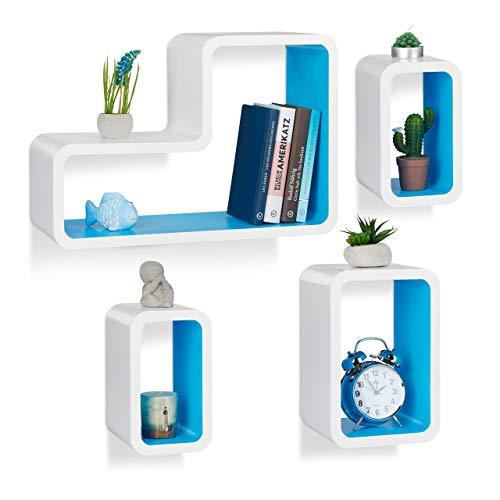 Relaxdays wandrek, set van 4, modern, hangrek, cube, voor boeken, dvd's, decoratie, L-vorm, wit-blauw