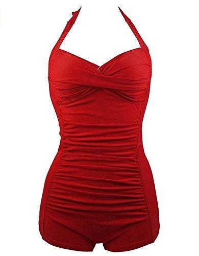Fashion Womens Vintage Athletic Swimsuits Push Up Tummy Control One Piece Plus Bathing Suit Boyshort Swimwear Vintage Red US Size 4-6