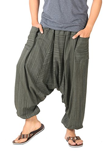CandyHusky Mens Stripe Cotton Summer Baggy Boho Aladdin Hippie Yoga Harem Pants (Dark Olive Green)
