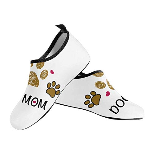 INTERESTPRINT Paw Print with Hearts Best Dog Mom Mother's Day Women's Barefoot Shoes Aqua Socks for Swim Beach Pool Surf Yoga US6~US7