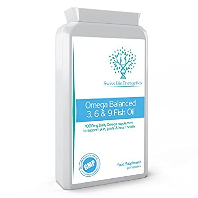 Omega Balanced 3, 6 & 9 Fish Oil 1000mg , 90 capsules - High Strength EPA & DHA formula derived from Fish, Borage & Flaxseed Oil with added Vitamin E in easy to swallow Soft Gel Capsules from Swiss BioEnergetics